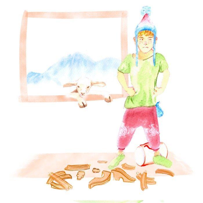 Los tres tesoros de Martin,  enfado del protagonista porque tiene que recoger sus juguetes.