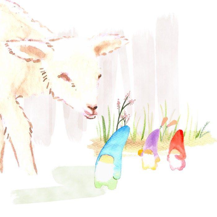 ovejitas del bosque ayudando a los enanitos, en el cuento los tres tesoros de Martin